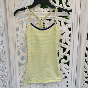 Lululemon Power Y Tank in Yellow/White Stripes